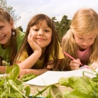 Kids learning in grass